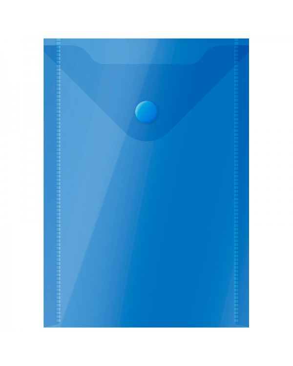 Папка-конверт на кнопке OfficeSpace, А6 (105*148мм), 150мкм, полупрозрачная, синяя