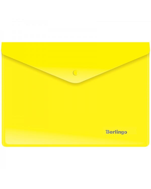 Папка-конверт на кнопке Berlingo, A5+, 180мкм, желтая