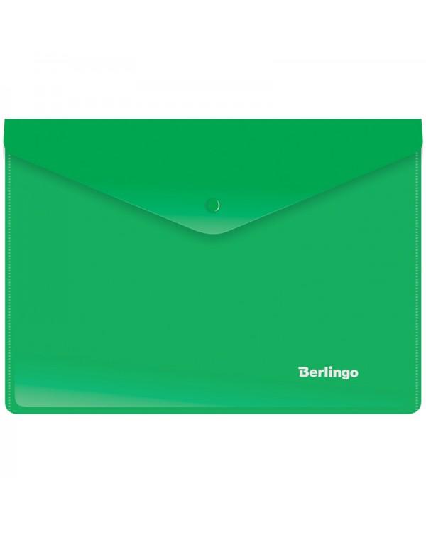 Папка-конверт на кнопке Berlingo, A5+, 180мкм, зеленая