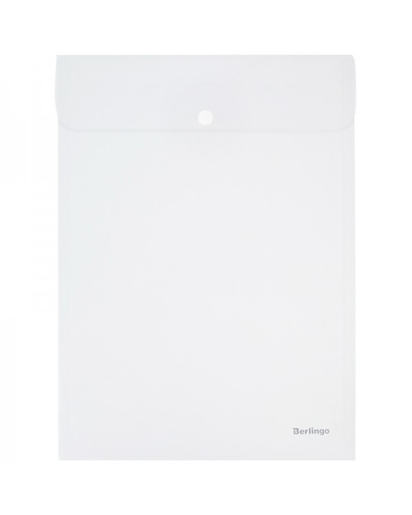 Папка-конверт на кнопке Berlingo, А4, 180мкм, вертикальная, прозрачная