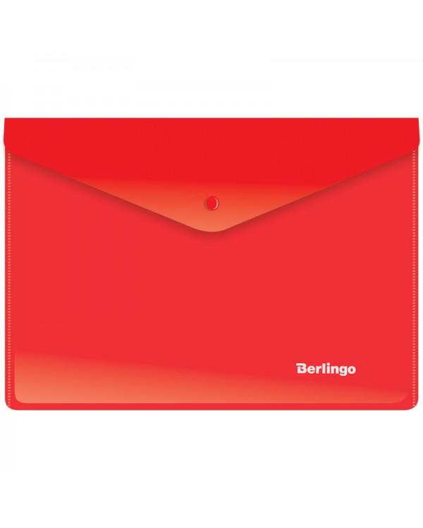 Папка-конверт на кнопке Berlingo, A5+, 180мкм, красная
