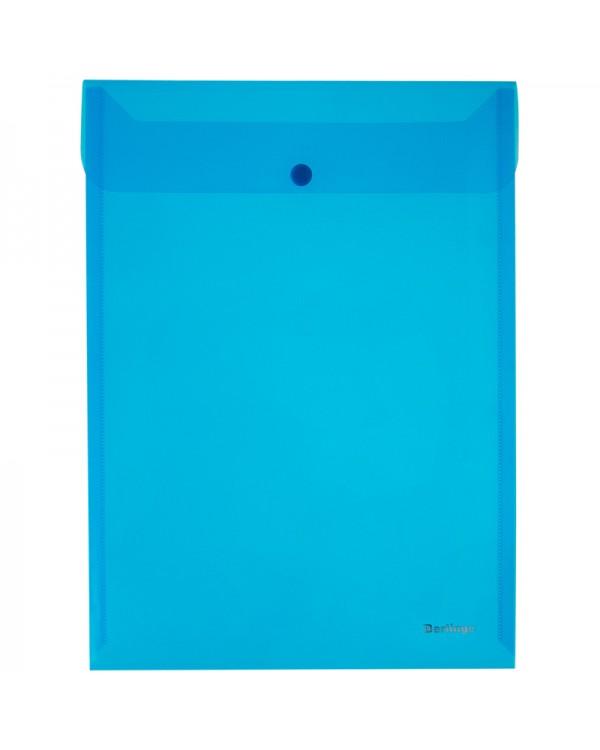Папка-конверт на кнопке Berlingo, А4, 180мкм, вертикальная, синяя