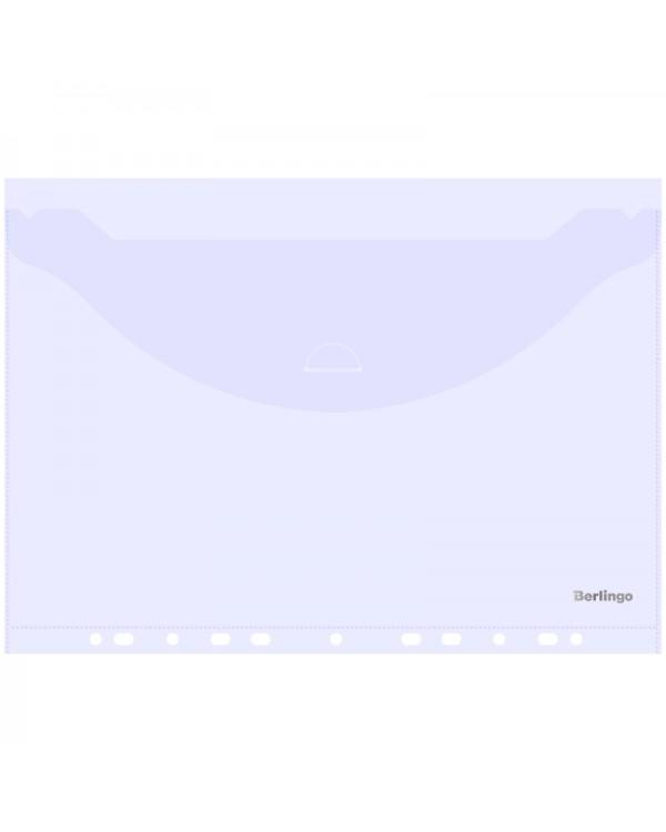 Папка-конверт с перфорацией с клапаном Berlingo, А4, 180мкм, прозрачная