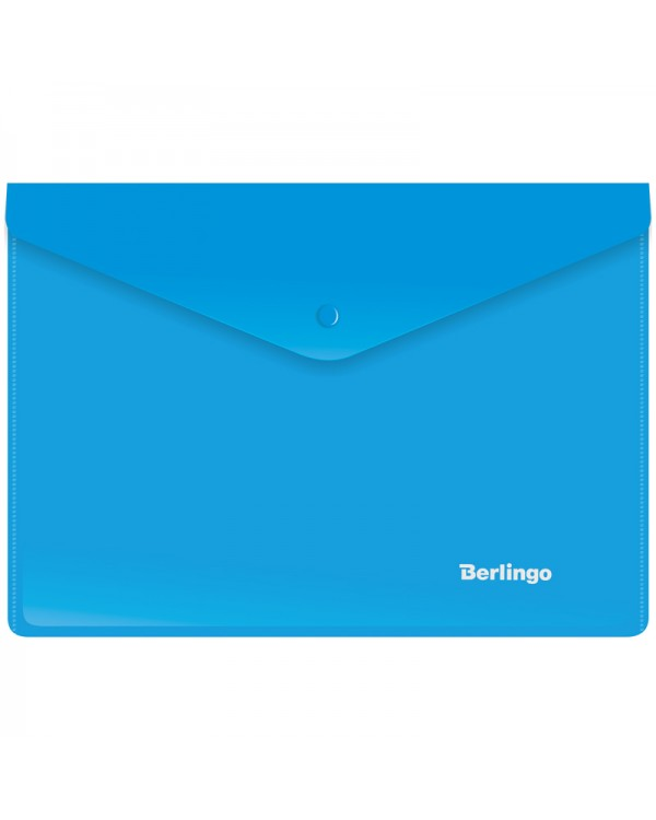 Папка-конверт на кнопке Berlingo, A5+, 180мкм, синяя