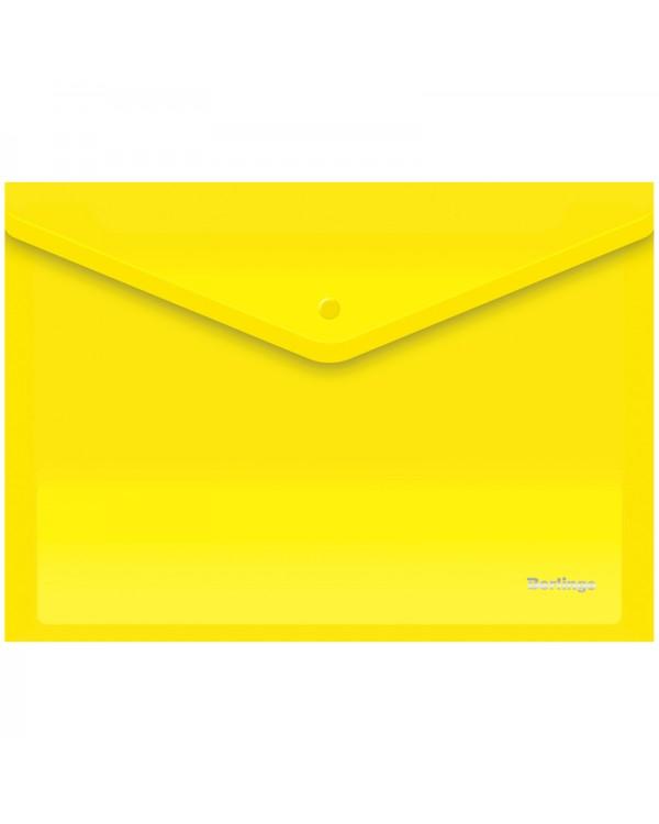 Папка-конверт на кнопке Berlingo, А4, 180мкм, желтая