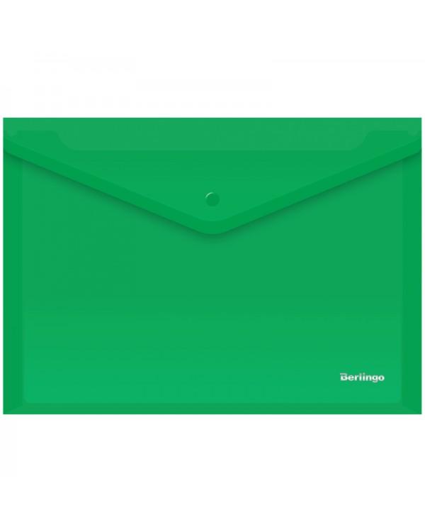 Папка-конверт на кнопке Berlingo, А4, 180мкм, зеленая