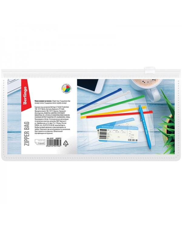 Папка-конверт на молнии Berlingo, 255*130мм, 150мкм, прозрачная, ассорти, для ж/д и авиа билетов