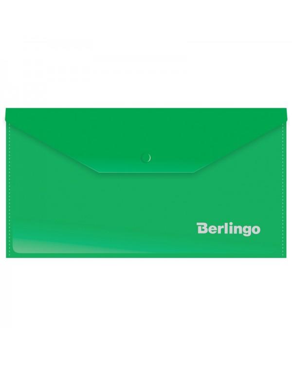 Папка-конверт на кнопке Berlingo, C6, 180мкм, зеленая