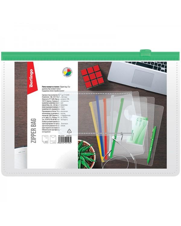 Папка-конверт на молнии Berlingo, A5, 150мкм, с карманом для визиток, прозрачная, ассорти