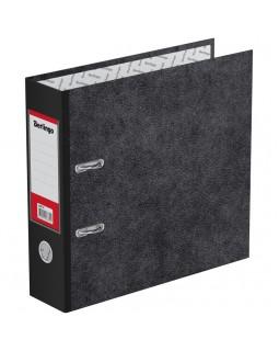 "Папка-регистратор Berlingo ""Standard"", 70мм, А5, мрамор, с карманом на корешке, черная"