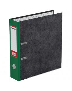 "Папка-регистратор Berlingo ""Standard"", 70мм, мрамор, с карм. на корешке, нижний метал. кант, зеленая"