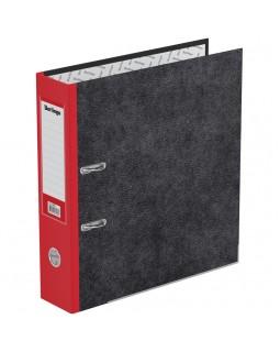"Папка-регистратор Berlingo ""Standard"", 70мм, мрамор, с карм. на корешке, нижний метал. кант, красная"