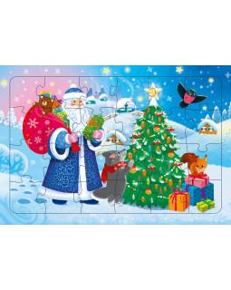 Дед Мороз. Пазл листовой на подложке