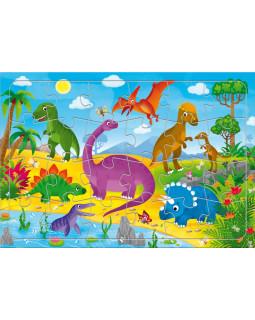 Динозавры. Пазл листовой на подложке