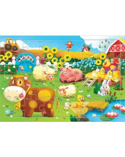 Животные на ферме. Пазл листовой на подложке