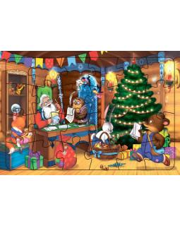 В гостях у Деда Мороза. Пазл листовой на подложке
