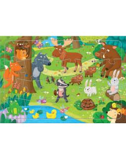 Лесные животные. Пазл листовой на подложке