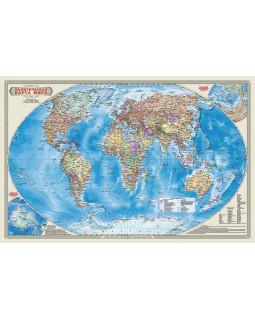 Политическая карта мира. 58*38 см. Карта настенная двухсторонняя