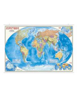 Политическая карта мира. 101*69 см. Карта настенная на рейках