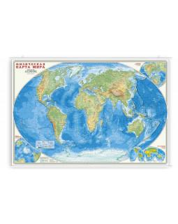 Физическая карта мира. 101*69 см. Карта настенная на рейках