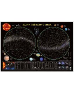 Звездное небо/Планеты. Карта настенная ламинированная на рейках 101*69 см