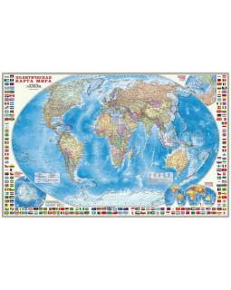 Политическая карта мира с флагами. Настенная 124*80 см