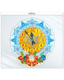 Мини-плакат вырубной в пакете: Новогодние часы (в индивидуальной упаковке с европодвесом) *ФМ-10009