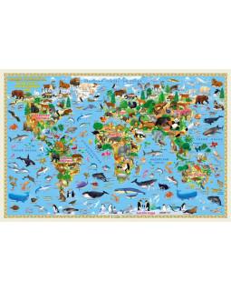 Наша планета. Животный и растительный мир. Карта Мира настенная ламинированная 124*80 см