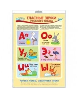Плакат А3 Гласные звуки русского языка (в индивидуальной упаковке с европодвесом) *ПЛ-11459