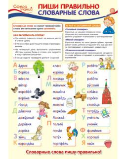 Плакат А3. Пиши правильно словарные слова. ПО-13355