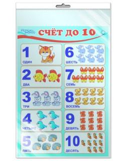 Плакат А3 Счет до 10 (в индивидуальной упаковке с европодвесом) *ПЛ-8534