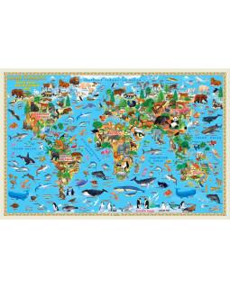 Карта Мира настенная двухсторонняя. Наша планета. Животный и растительный мир