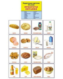 Продукты питания. 16 демонстрационных карточек с текстом