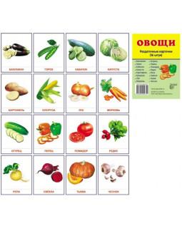 Овощи. 16 раздаточных карточек с текстом