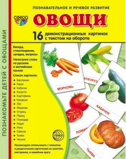 Овощи. 16 демонстрационных карточек с текстом
