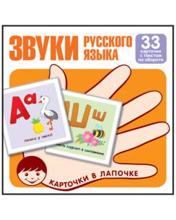 Звуки русского языка. 33 карточки с текстом на обороте