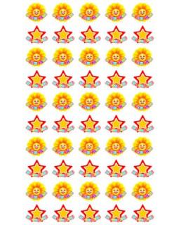 Набор для поощрения на самоклеящейся бумаге Звездочки и солнышки НМ-8111
