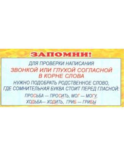 Карточка Запомни: для проверки написания звонкой или глухой ШМ-3591