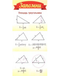 Карточка Запомни. Площадь треугольника ШМ-8638