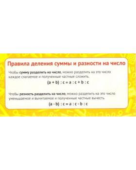 Карточка Правила деления суммы и разности на число ШМ-9156