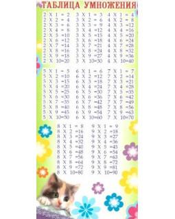 Мини-таблица умножения (с расписанием на обороте) котенок ШМ-6584