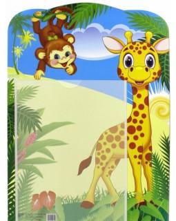 Стенд Универсальный для детского сада с карманом А4 (жираф и обезьянка)