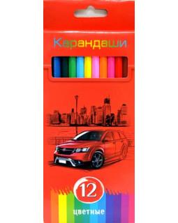 """Карандаши """"BG"""" 12 цветов """"Красная энергия"""" с заточкой, в коробке"""
