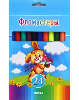 """Фломастеры """"BG"""" 24 цвета, """"Смешной зайчик"""" в коробке"""