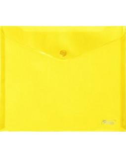 Папка-конверт Hatber на кнопке А5 желтая