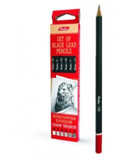Набор чернографитных карандашей, 6 штук, разной твердости