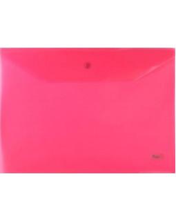 Папка-конверт Пластиковая на кнопке А4 Hatber 180мкм Красная