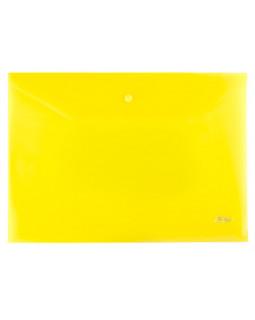 Папка-конверт Пластиковая на кнопке А4 Hatber 180мкм Желтая