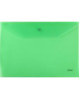 Папка-конверт Пластиковая на кнопке А4 Hatber 180мкм Зеленая