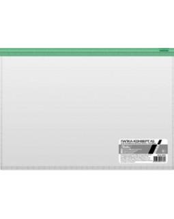 Папка-конверт Пластиковая на молнии А5 Hatber 110мкм Прозрачная